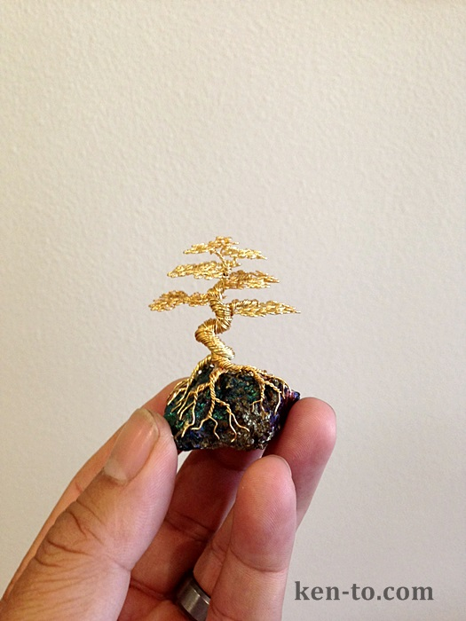 Gold wire bonsai tree on rock by Ken To by KenToArt