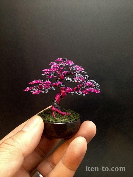 Hematite Pink upright wire bonsai tree by Ken To by KenToArt