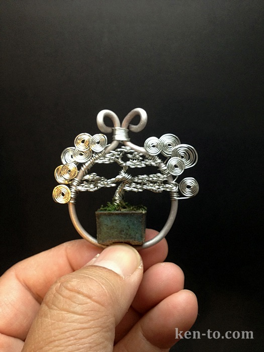 Wire bonsai tree pendant by Ken To by KenToArt