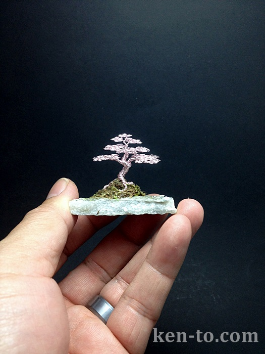 Mini rose wire bonsai tree by Ken To by KenToArt