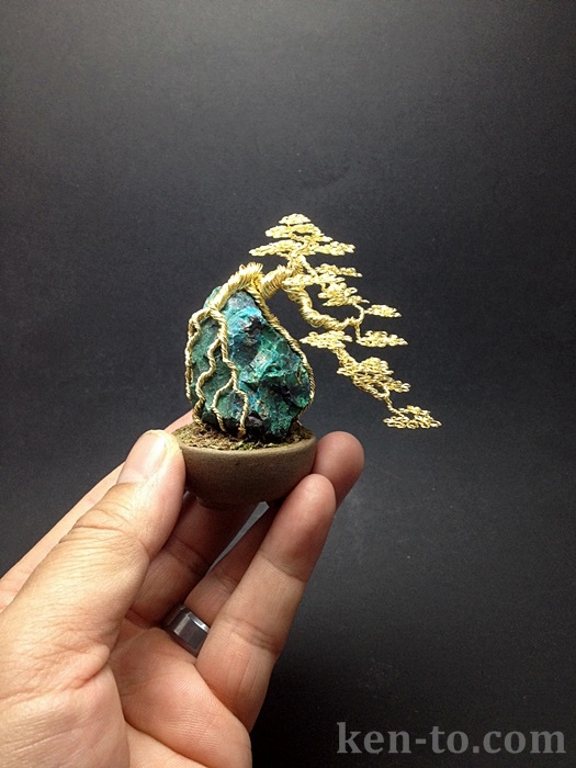 Gold cascade wire bonsai tree on rock by Ken To by KenToArt