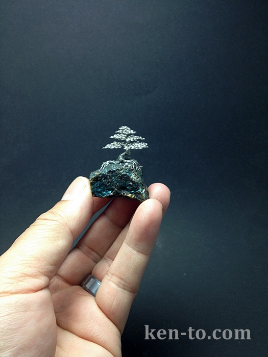 Micro silver wire bonsai tree sculpture by Ken To by KenToArt