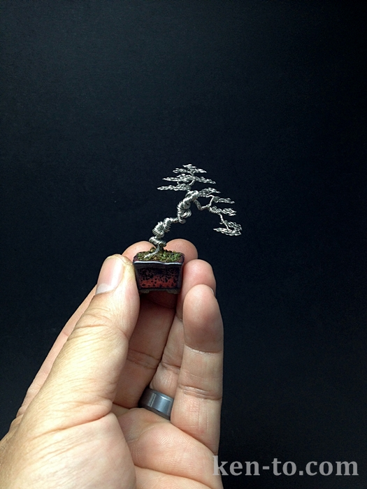 Micro literati wire bonsai tree by Ken To by KenToArt