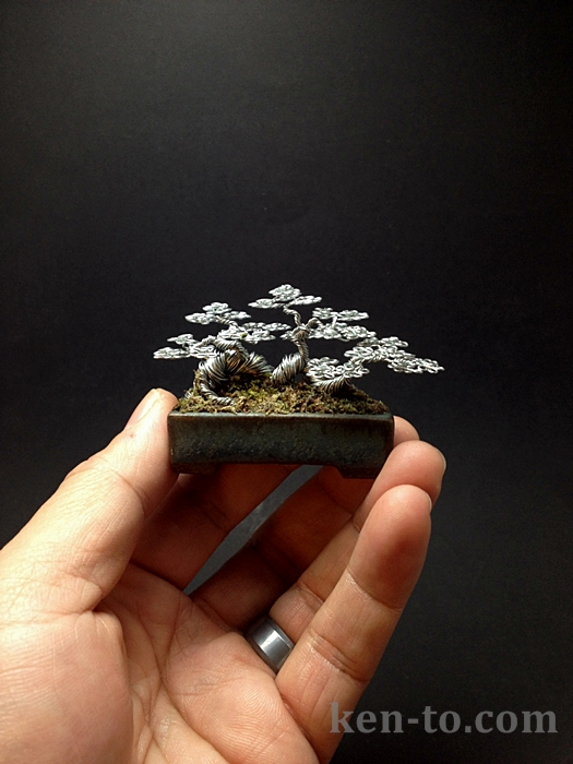 Mini raft wire bonsai tree sculpture by Ken To by KenToArt