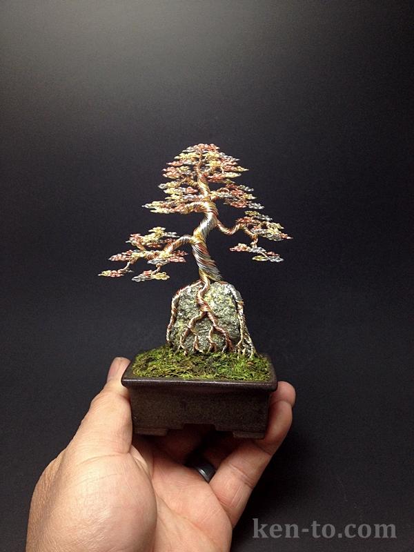 3-color wire bonsai tree on rock by Ken To by KenToArt