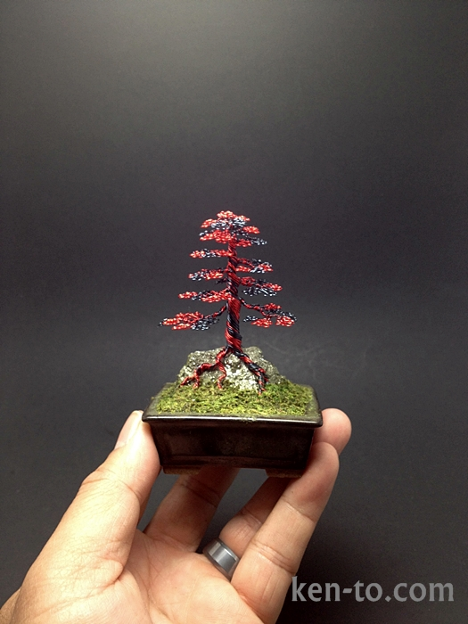 Red hematite wire bonsai tree sculpture by Ken To by KenToArt