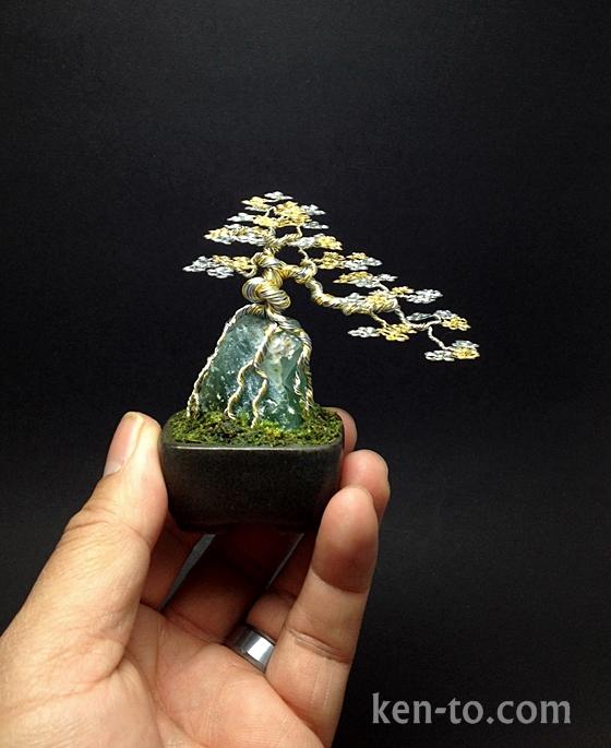 Silver Gold cascade wire bonsai tree by Ken To by KenToArt