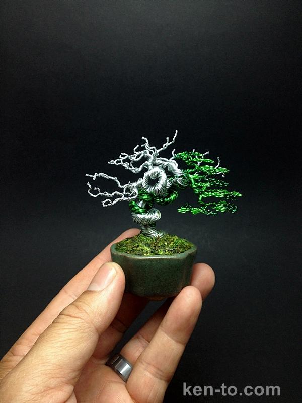 Green deadwood wire bonsai tree by Ken To by KenToArt