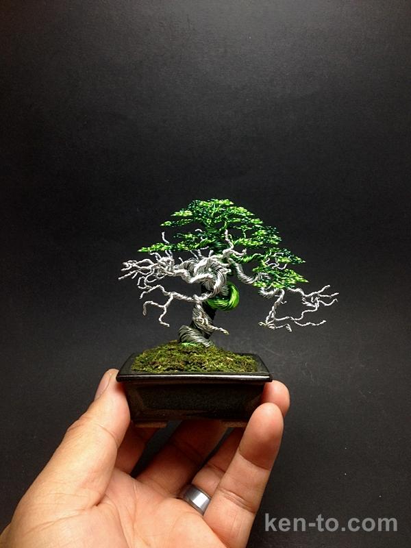 Large green wire deadwood bonsai tree by Ken To by KenToArt