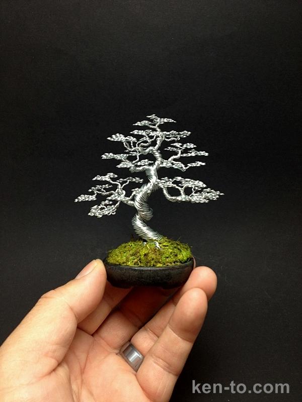 Silver informal upright wire bonsai tree by Ken To by KenToArt