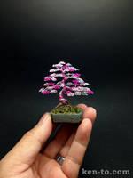 3 tone pink wire bonsai tree sculpture by Ken To by KenToArt