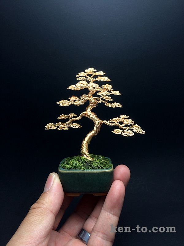 Gold informal upright wire bonsai tree by Ken To by KenToArt