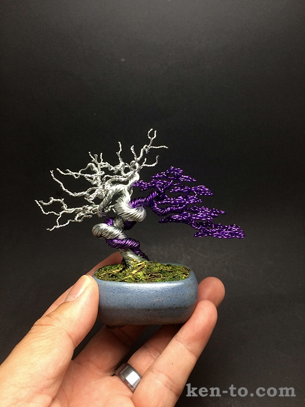 Purple wire bonsai tree with deadwood by Ken To by KenToArt