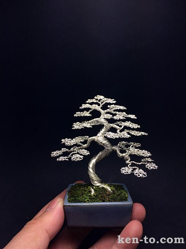 Large silver wire bonsai tree by Ken To by KenToArt