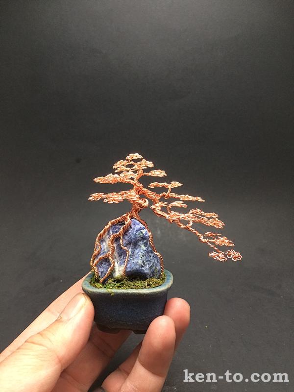 Copper root-over-rock wire bonsai tree by Ken To by KenToArt