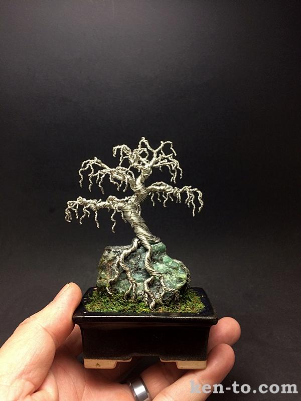 Weeping wire bonsai tree on rock by Ken To by KenToArt