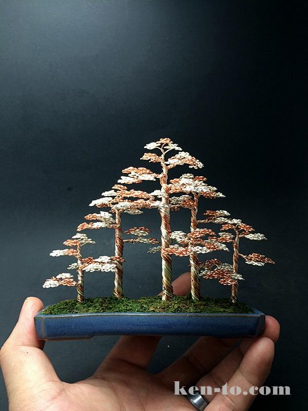 Large 5-tree wire bonsai tree forest by Ken To by KenToArt