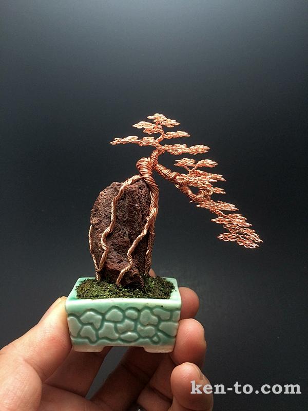 Root-oover-rock wire bonsai tree by Ken To by KenToArt