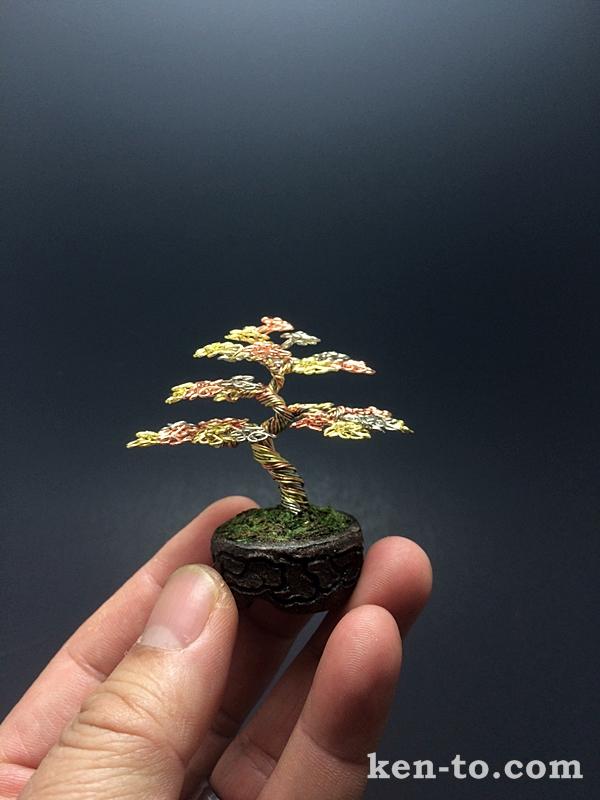 3-color green wire bonsai tree by Ken To by KenToArt