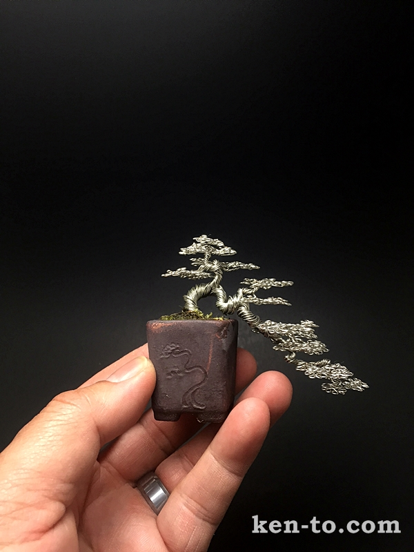 Silver cascade wire bonsai tree  by Ken To by KenToArt
