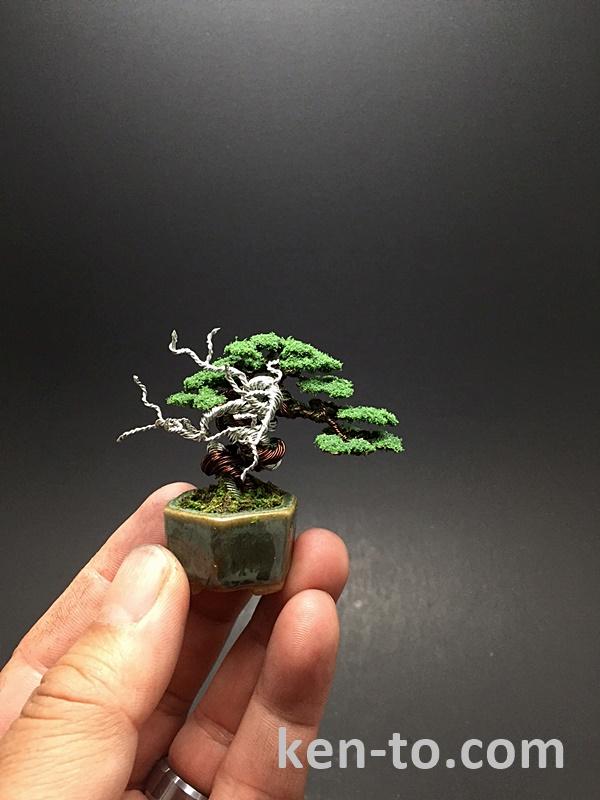 Flocked wire bonsai tree with deadwood by Ken To by KenToArt