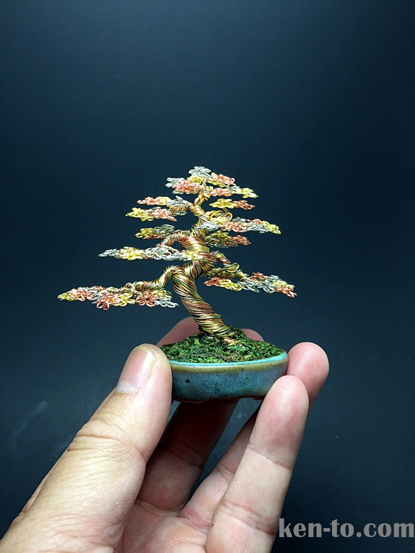 Medium 3-color wire bonsai tree by Ken To by KenToArt