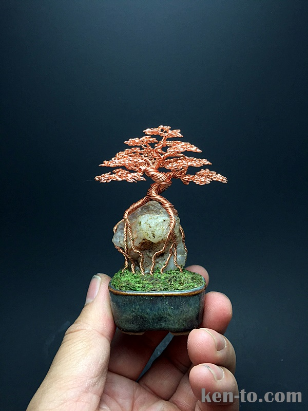 Root-over-rock wire bonsai tree by Ken To by KenToArt