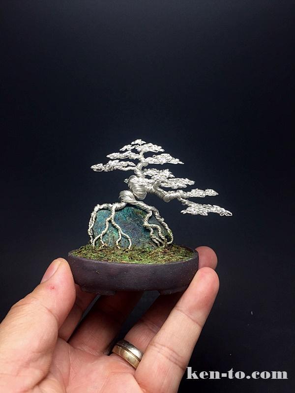 Silver root-over-rock wire bonsai tree by Ken To by KenToArt