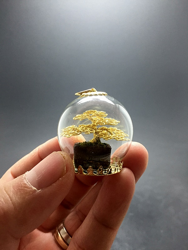 Mini Gold wire bonsai tree  by Ken To by KenToArt