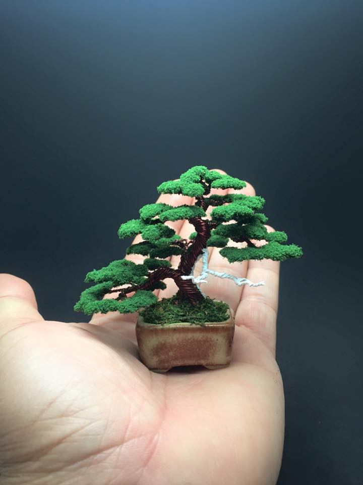 Wire bonsai tree with flocked foliage by Ken To by KenToArt