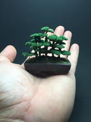 Flocked wire bonsai tree forest by Ken To by KenToArt