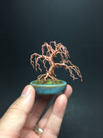 Wind swayed wire bonsai tree by Ken To by KenToArt