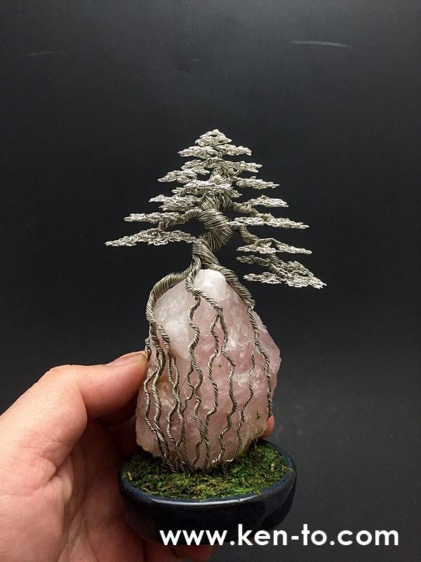 Ken To root-over-rock wire bonsai tree sculpture by KenToArt
