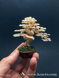 Gold wire bonsai tree sculpture by Ken To