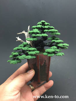 Large flocked wire bonsai tree by Ken To