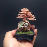 Root-over-rock wire bonsai by Ken To by KenToArt