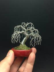 Weeping wire bonsai tree sculpture by Ken To by KenToArt