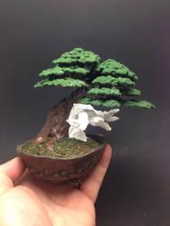 Mixed media wire bonsai tree by Ken To by KenToArt