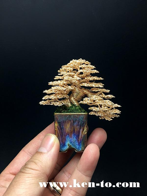 Gold semi-cascade wire bonsai tree by Ken To by KenToArt