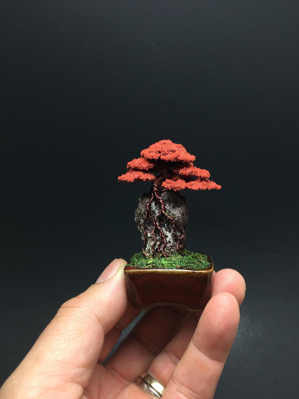 Mini red flocked wire bonsai tree by Ken To by KenToArt