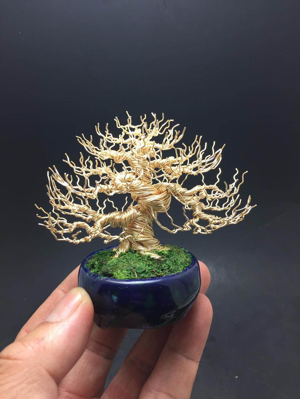 Gold deciduous wire bonsai tree by Ken To by KenToArt
