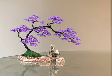 Wire bonsai tree sculpture by Ken To