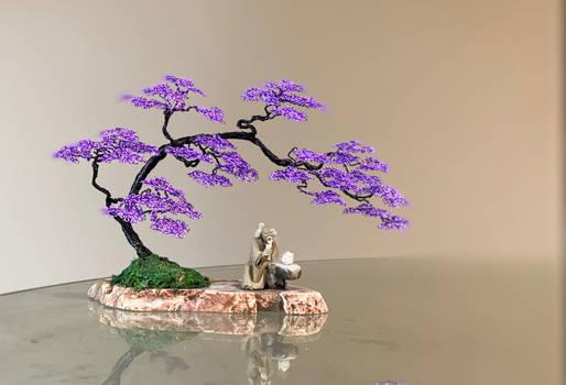 Wire bonsai tree sculpture by Ken To