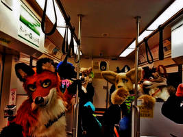 Furries on a Train by MikeFolf