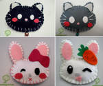 Felt brooches - cat and bunny