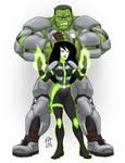 Hulk and Shego- Battle Ready- by CallMePo