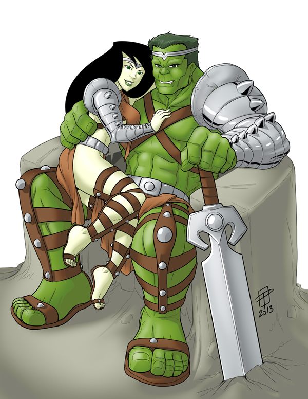 Hulk and Shego- Love and War- by CallMePo by GorillaKing18