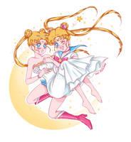 Sailor Moon and Serenity by Alex-Asakura