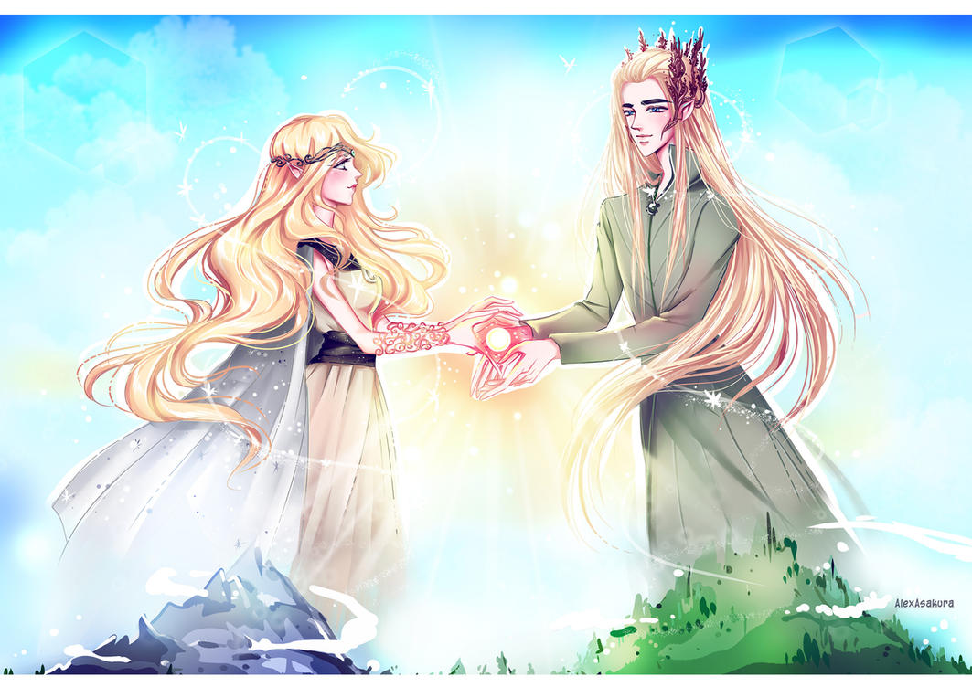 Timariel and Thranduil by Alex-Asakura