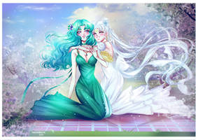 Princess Serenity and Princess Neptune by Alex-Asakura